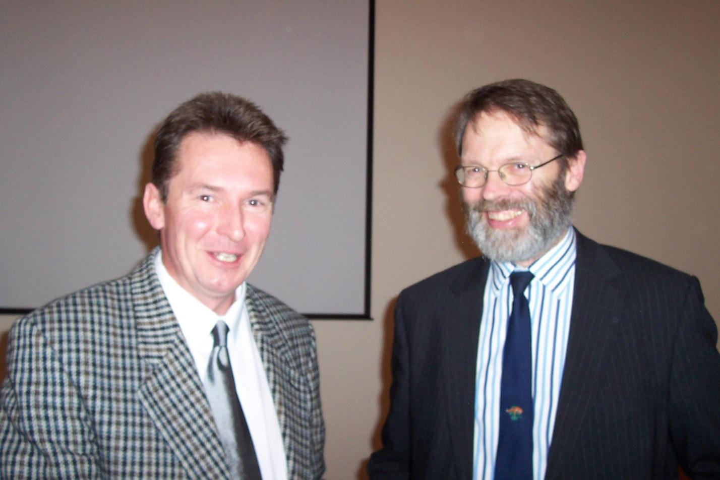 Rob and David Macdonald launching Restoring Water Voles in 2003