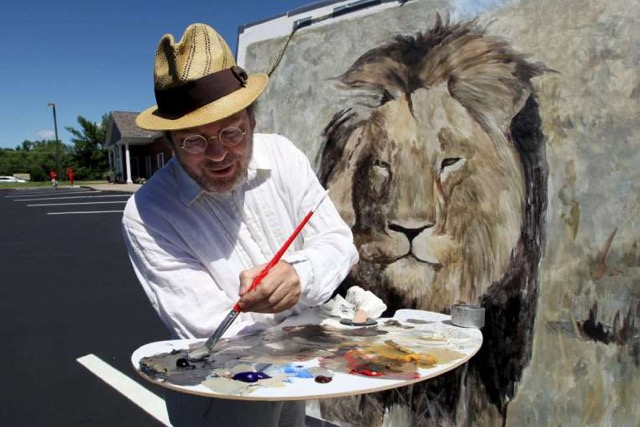 Mark Balma painting Cecil the Lion